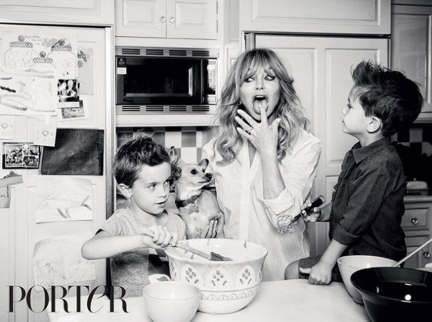 Goldie Hawn has fun in the kitchen with her grandsons (Porter Magazine)