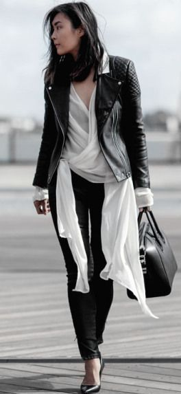 Beige Renegade Black And White Tied Up Blouse Fall Streetsyle Inspo: