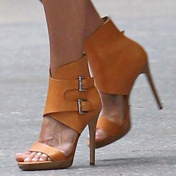 Shoespie Yellow Ankle Wrap Buckles Sandals