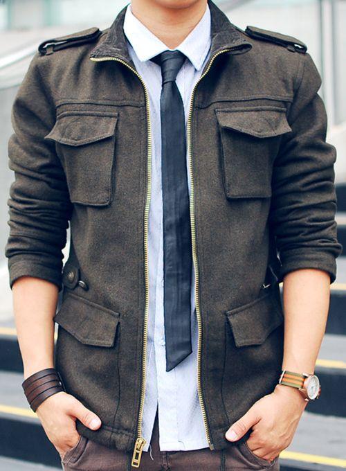 Best 25  Military jacket men ideas on Pinterest   Black leather ...
