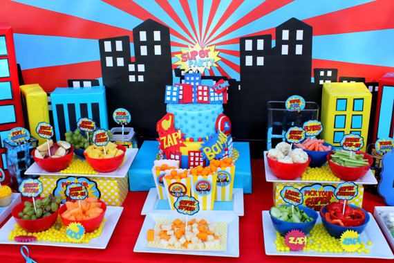 Printables - Decorations - SUPER Hero Party  COMPLETE Super Hero Birthday by KROWNKREATIONS - Food Table