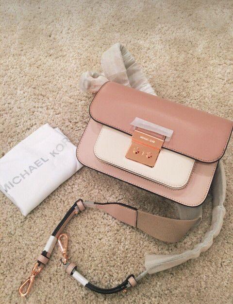 ee02b6122746 NWT Michael Kors Sloan Editor Shoulder Bag Soft Pink light Cream fawn