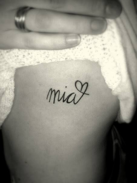 Love the heart twist at the end. My little girls name TATTOO on my left side, ribs