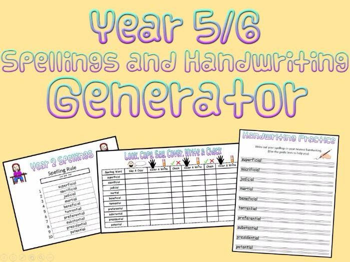 Year 5 and 6: Spellings and Handwriting Generator