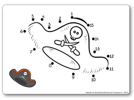http://dessinemoiunehistoire.net/Relier les points de 1 à 15 : le chapeau de pirate