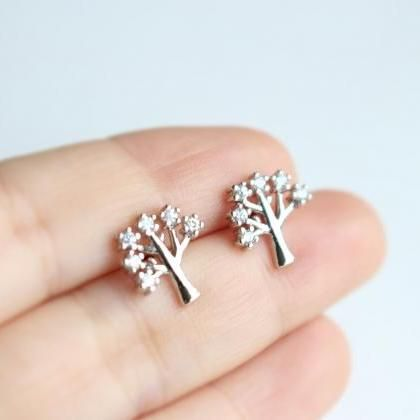Zircon Tree stud earrings in gold, ..