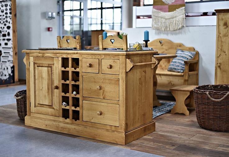 wyspa kuchenna komoda na wino drewniana