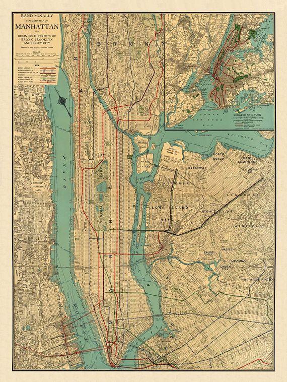 Antique  map  Antique Manhattan map Print  26 x by AncientShades, $48.00
