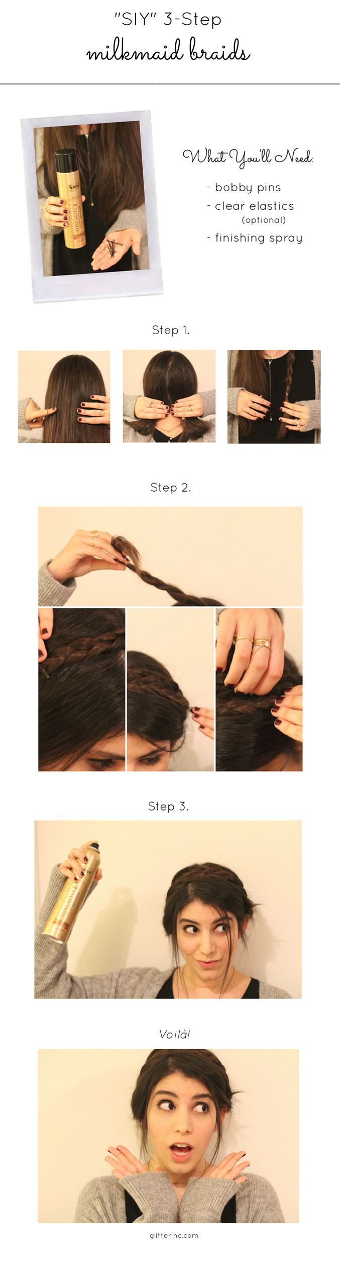 How to: 3-Step Double Braids (a.k.a., Milkmaid Braids) #Updo @SuaveBeauty #StyleItYourself