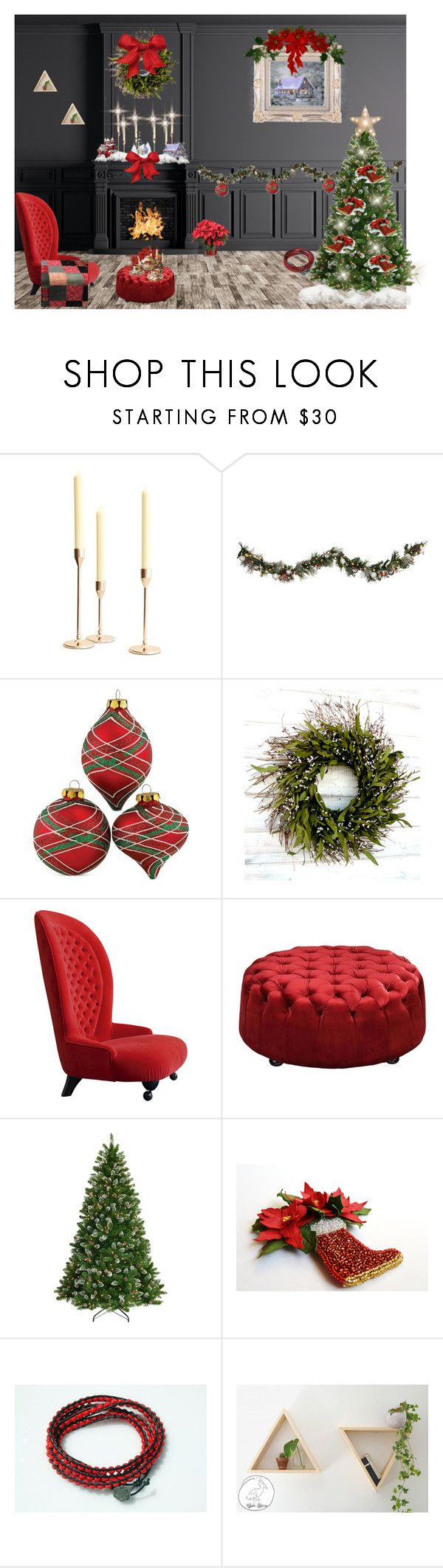 *A Warm and Cozee Christmas* by cozeequilts on Polyvore featuring National Tree Company, Moe's, Improvements, Kurt Adler, Pottery Barn and rustic