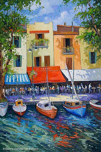 Robert Savignac, 'Vue sur le port', 24'' x 36'' | Galerie d'art - Au P'tit Bonheur - Art Gallery