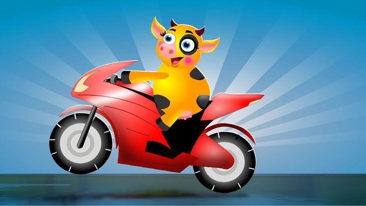 Gummy cow Riding on Color Bikes - Gummy Cows Finger Family Nursery Rhyme...