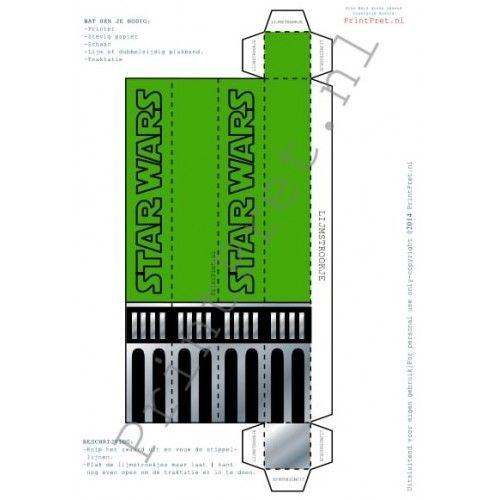 Star Wars zwaard traktatie doosje is onderdeel van het zelf te printen Star Wars feestpakket van www.Printpret.nl