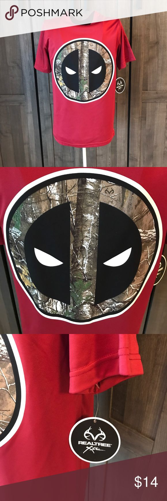 Real Tree Deadpool red and camouflage tee shirt Men's NWT Deadpool Real Tree camouflage tee shirt size small very soft 100% polyester. sweet bay Shirts Tees - Short Sleeve