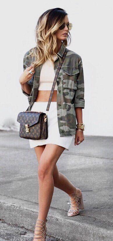 Army Jacket & White Skirt & Brown Printed Shoulder Bag