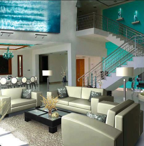 Gentil Tiffany Blue Living Room