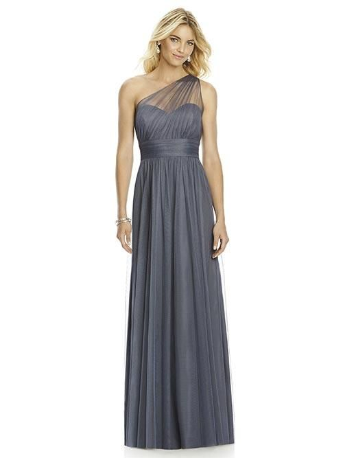 Balletts Bridal - 24732 - Bridesmaids by Dessy - After Six 6765 - Full length one shoulder soft tulle dress w/ asymmetrical draped bodice, shirred waistband and shirred skirt