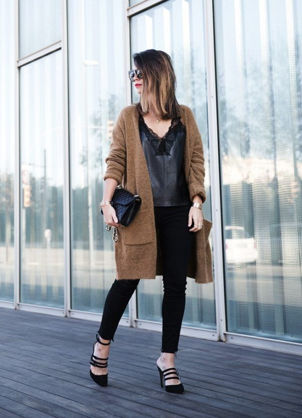 2ef9bc97ee2 Maxi Cardigan Lace Leather Top Bucklets Shoes Skinny Jeans Outfit Street  Style bmodish