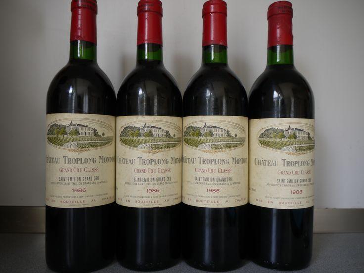 """4 bottles Château Troplong Mondot 1986 1er Grand Cru Classé """"B"""""""