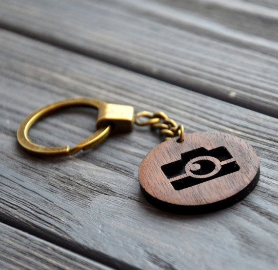 Camera wooden Keychain Gift for Him Dad Men Wood Style Design Personalized…