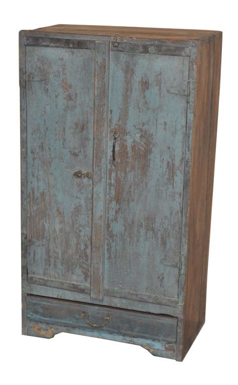 Oude blauwe Indiase kast