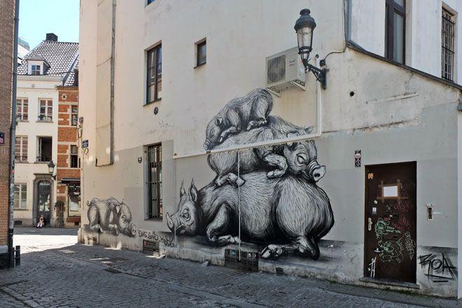 Comic + Streetart in Brüssel I Belgien I ROA I Schweine I Pigs I Minza will Sommer