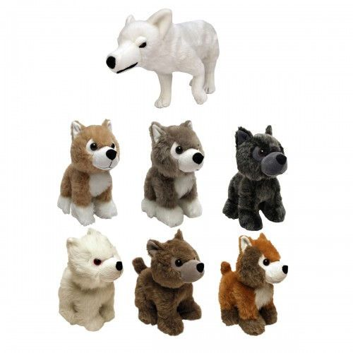 A Lady And Her Dire Wolf: Game Of Thrones Direwolf Plush Bundle (Set Of 7) Includes