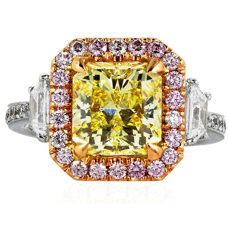 3.02 Carat GIA Cert Fancy Intense Yellow and Pink Diamond Engagement Ring   From a unique collection of vintage engagement rings at https://www.1stdibs.com/jewelry/rings/engagement-rings/