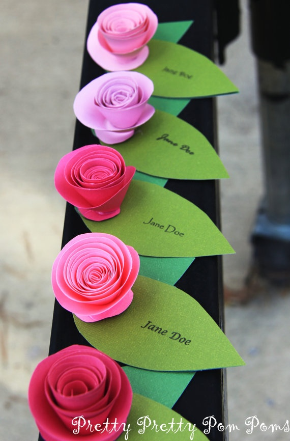 Rose Wedding Place Cards - this might be going too far with paper flowers...