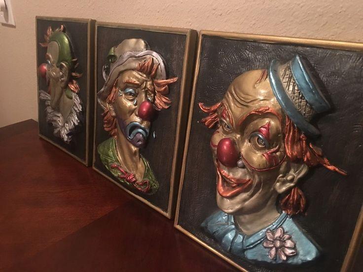 Vintage 1964 New-Art-Studio raised plaster wall Plaques(clowns) set of 3 & The 207 best VINTAGE WALL PLAQUE images on Pinterest | Vintage walls ...