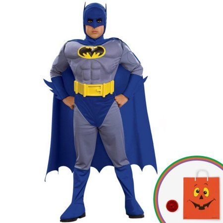 Batman Brave & Bold Deluxe Batman Child Costume Kit with Free Gift, Boy's, Size: Large (12/14), Blue