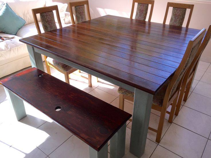 I used reclaimed wood for the table top & the bench top came from a bench that my wife's grandparents had. Oak with ASCP duck egg blue was used for the rest.