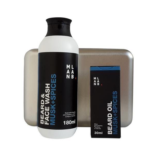 Óleo para Barba  + Shampoo para Barba MUSK SPICES. Box metálico GRÁTIS