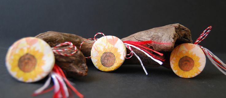 sun flower decoupage brooch, martisoare handmade decoupage cu floarea soarelui
