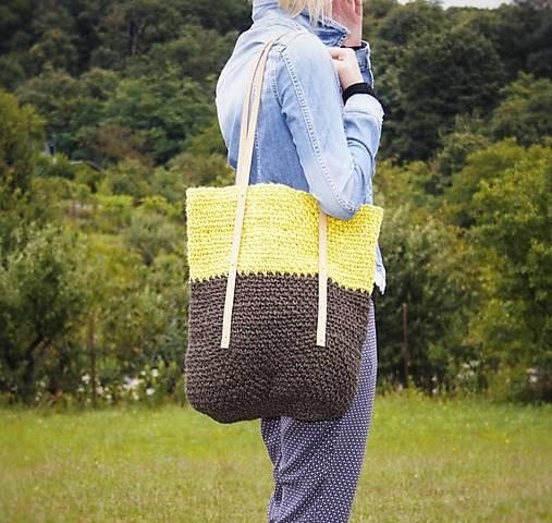 Yellow Brown Jute Tote / Jute Market Bag / Large by RUKAMIshop