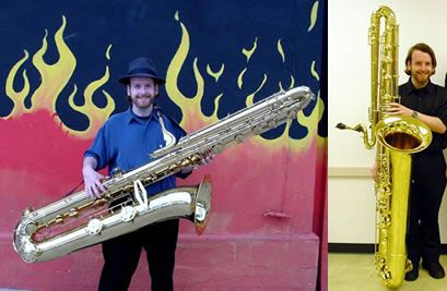 Contrabass saxophone, largest woodwind instrument unique giant musical instrument