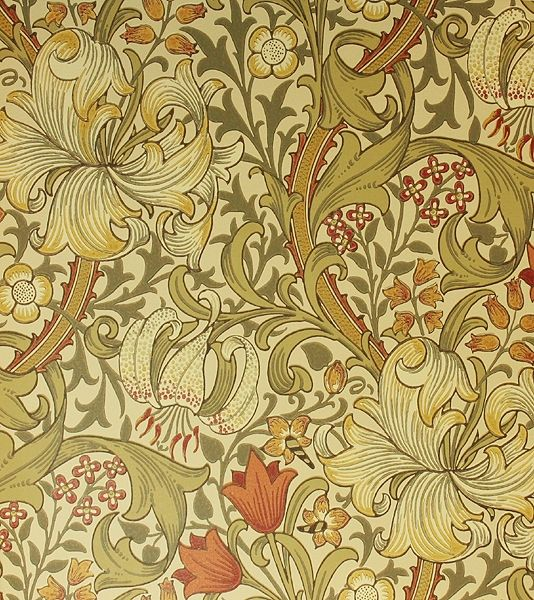 Golden Lily Wallpaper A classic William Morris wallpaper floral lilies in gold, olive and russet  on a beige background