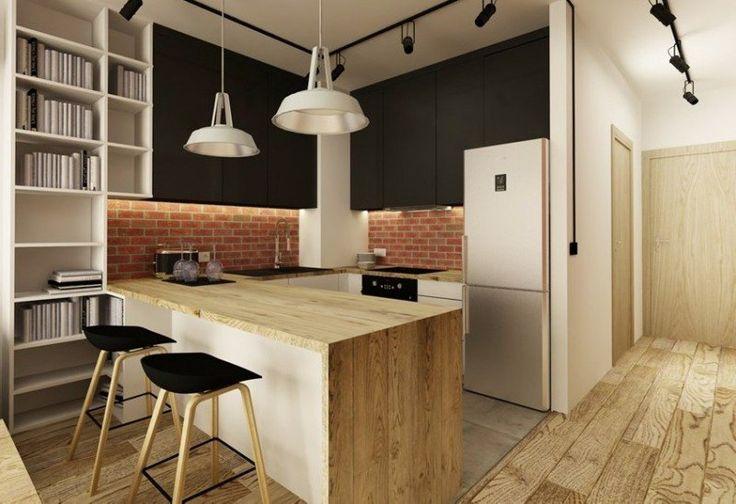plancher, bar et plan de travail cuisine en bois massif et crédence en brique