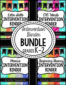 ELA Intervention Binder Bundle-EVERYTHING you need to target essential reading skills! 4 Binders with intervention activities and assessments covering letters, CVC words, phonics, and beginning fluency.