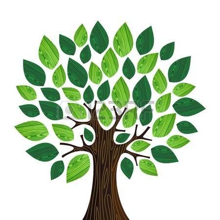 Albero isolato Eco friendly con illustrazione di legno foglie file con livelli per una facile manipo Archivio Fotografico