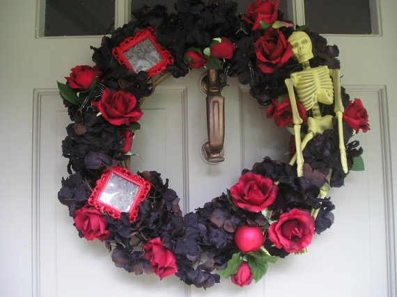 Red And Black Black And Red Wedding Gothic/Alternative Wedding Wreath By  EightTreeStreet, Also