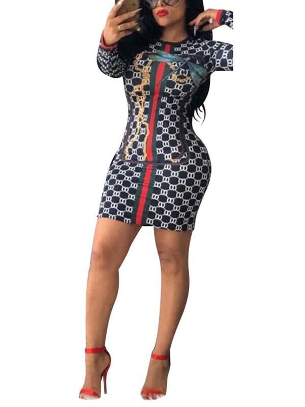 eb888e2d26f2 Digital Printed Long Sleeve Sexy Mini Dress | clothes in 2019 ...