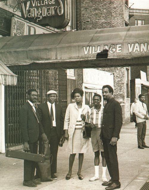 Pharoah Sanders, John Coltrane, Alice Coltrane, Jimmy Garrison and Rashied Ali outside the Village Vanguard, New York, May 28, 1966.