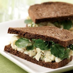 Lighten up your egg salad with low fat sour cream or plain yogurt. Yum!