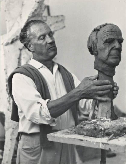 Marino Marini Working On A Portrait Of Henry Moore