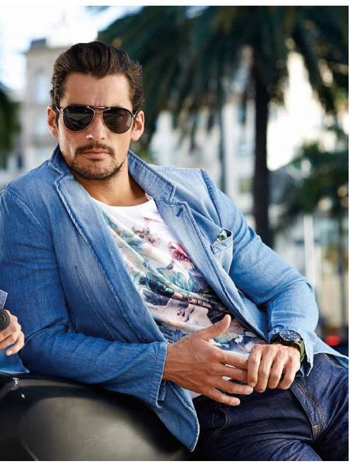 Men's casual style. David Gandy. From Selected Summer 2014