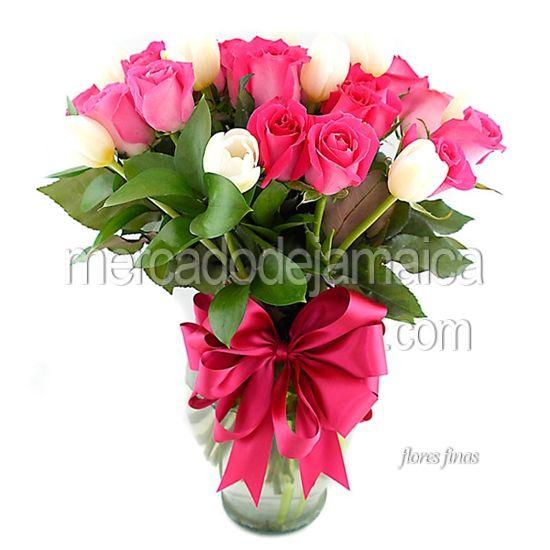 Floreria en el df Rosas Fucsia y Tulipanes La Reyna Rosa !| Envia Flores