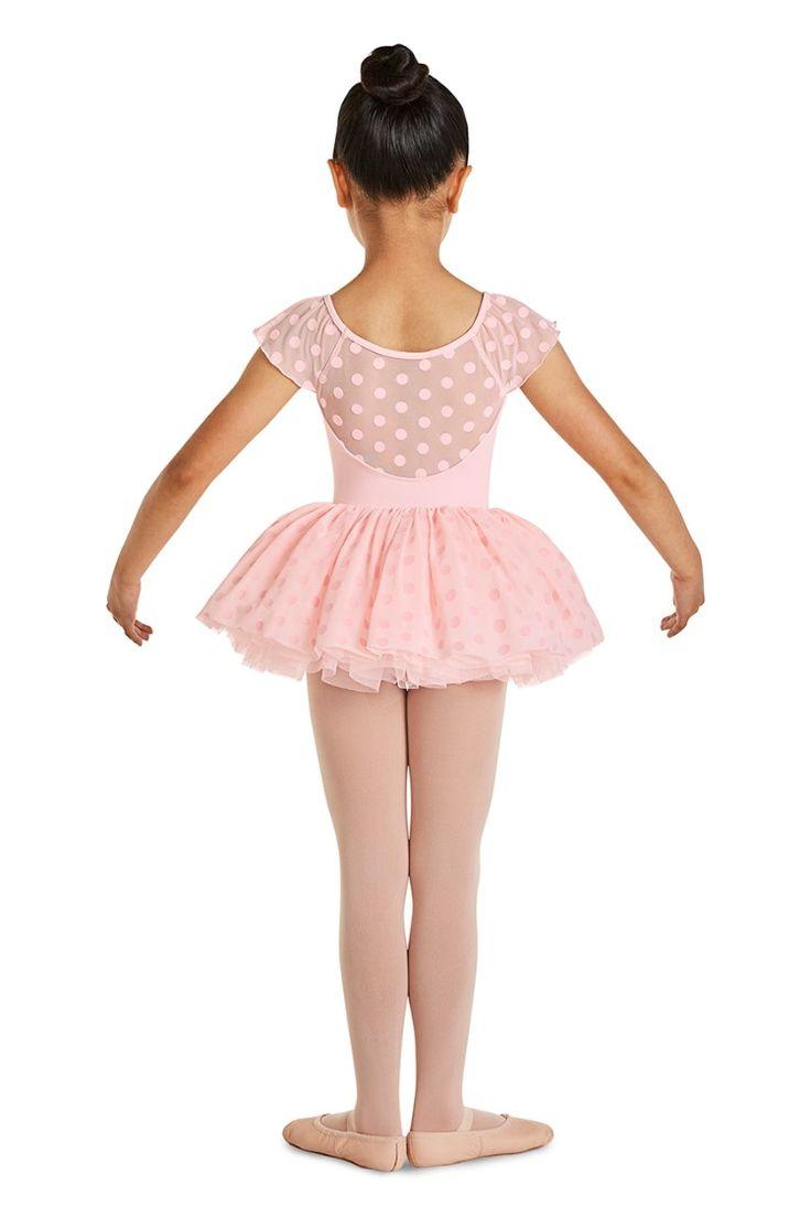 Kids polka dot mesh flutter sleeve ballet dance leotard by
