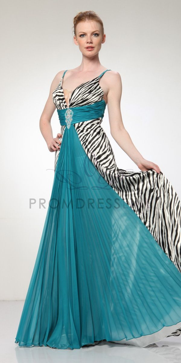 Plunging Neckline Turquoise Pleated Zebra Print Prom Dress S3064 ...