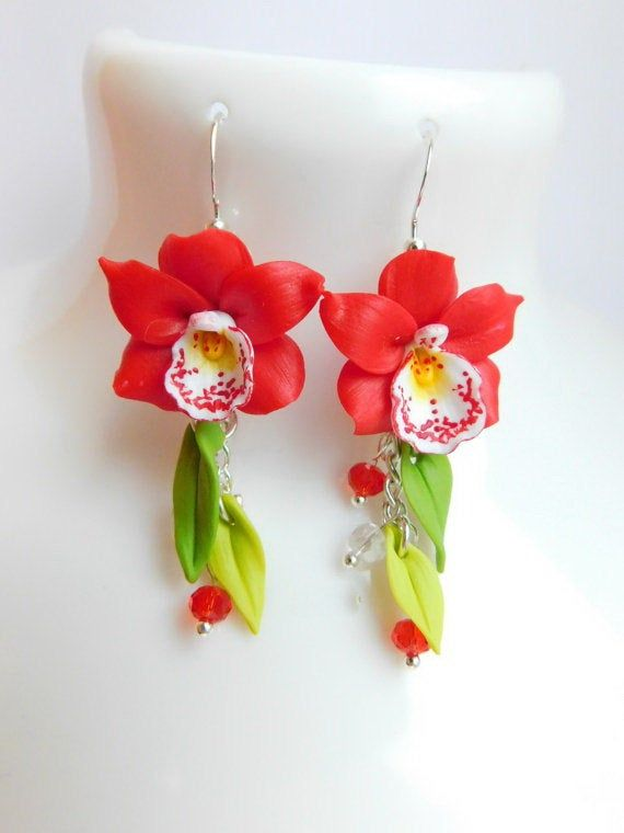 Red Earrings Orchid Jewelry Christmas Gift Long Flower Etsy Christmas Gift Jewelry Flower Jewellery Red Earrings